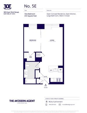 floorplan for 303 East 33rd Street #5E