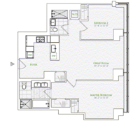 floorplan for 1 River Terrace #14C