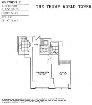 floorplan for 845 United Nations Plaza #12C