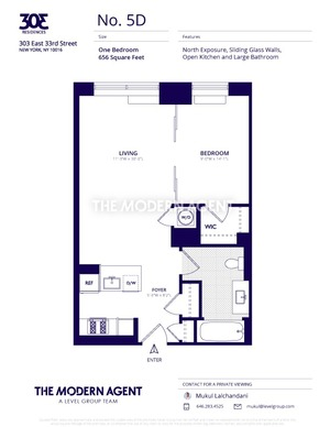 floorplan for 303 East 33rd Street #5D