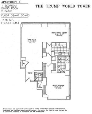 floorplan for 845 United Nations Plaza #54E