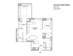 floorplan for 303 East 33rd Street #3D