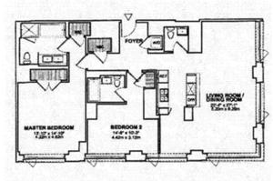 floorplan for 2 River Terr #26B