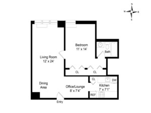 floorplan for 220 East 65th Street #20J