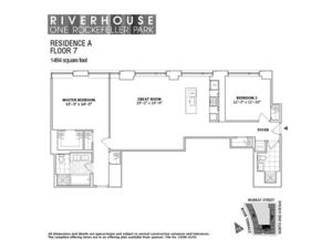 floorplan for 2 River Terrace #7A