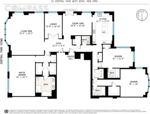 floorplan for 15 Central Park West #26A