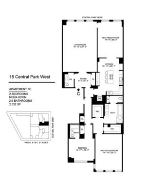 floorplan for 15 Central Park West #3C