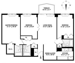 floorplan for 220 E 65 #4G