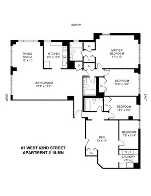 floorplan for 61 West 62nd Street #18MN