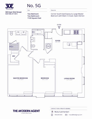 floorplan for 303 East 33rd Street #5G