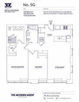 floorplan for 303 East 33rd Street #5G