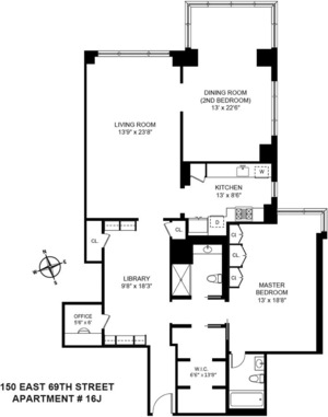 floorplan for 150 East 69th Street #16J