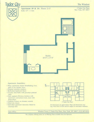 floorplan for 5 Tudor City Place #1510