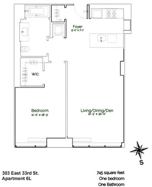 floorplan for 303 East 33rd Street #6L