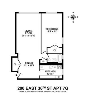 floorplan for 200 East 36th Street #7G