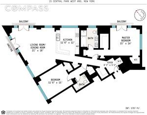 floorplan for 15 Central Park West #8G