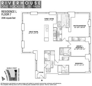 floorplan for 2 River Terrace #7L