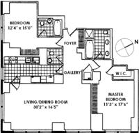 floorplan for 845 United Nations Plaza #18D