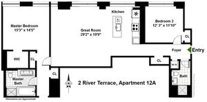 floorplan for 2 River Terrace #12A