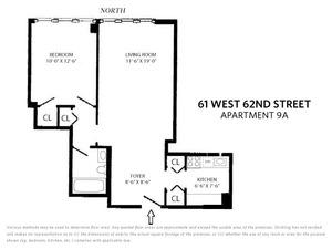 floorplan for 61 West 62nd Street 9AUNFURN