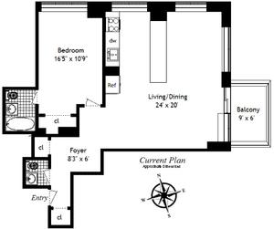 floorplan for 61 W 62nd Street #8D