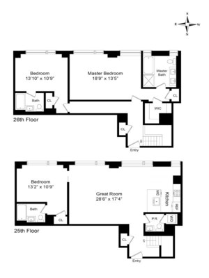 floorplan for 2 River Terrace #25/26C