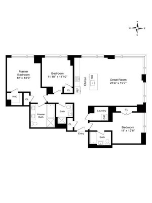 floorplan for 2 River Terrace #26A