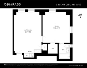 floorplan for 5 Tudor City Place #1519