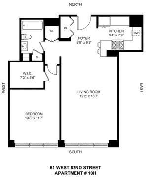 floorplan for 61 West 62nd Street #10H