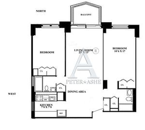 floorplan for 220 East 65th #14H