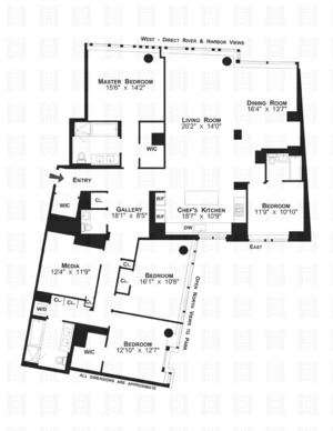 floorplan for 2 River Terrace #12JK1