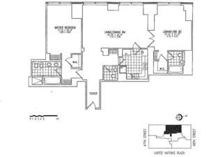 floorplan for 845 United Nations Plaza #55D