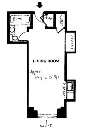 floorplan for 5 Tudor City Place #2116