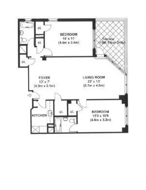 floorplan for 200 East 36th Street #15B