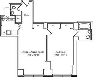 floorplan for 845 United Nations Plaza #6B