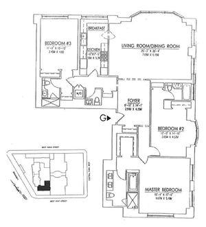 floorplan for 15 Central Park West #11G