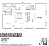 floorplan for 1 River Terrace #24B