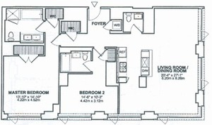 floorplan for 2 River Terrace #20B