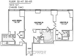 floorplan for 845 United Nations Plaza #33D
