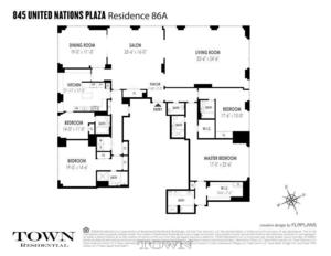 floorplan for 845 United Nations Plaza #86A