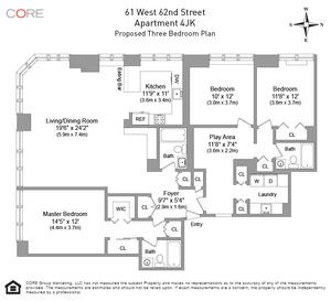 floorplan for 61 West 62nd Street #4J/K