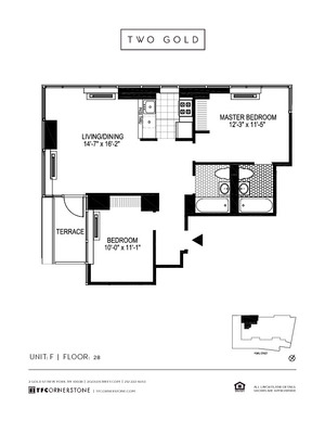 floorplan for 2 Gold Street #28F