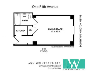 floorplan for 1 Fifth Avenue #2HH
