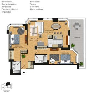 floorplan for 345 East 94th Street #7A