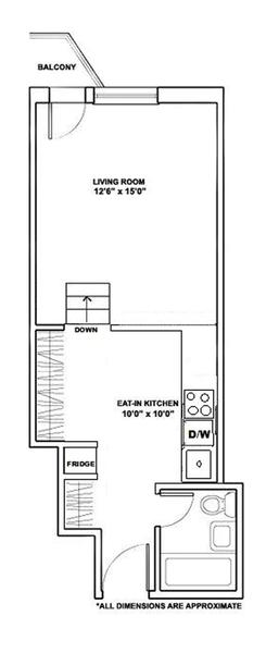 floorplan for 211 Thompson Street #2B