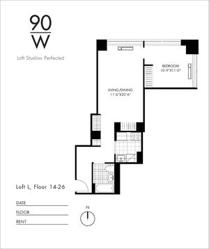 floorplan for 90 Washington Street #19L