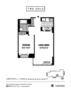 floorplan for 2 Gold Street #5005