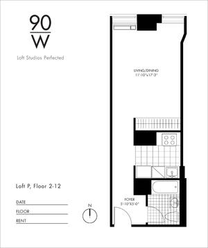 floorplan for 90 Washington Street #6P