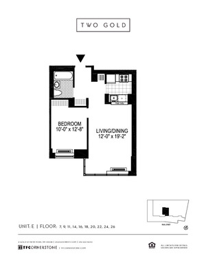 floorplan for 2 Gold Street #26E