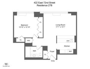 floorplan for 422 East 72nd Street #27B